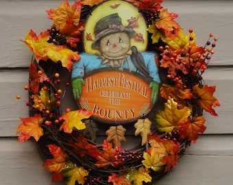 Fall Thanksgiving Harvest Bounty Grapevine Wreath Thanksgiving Maple Leaves Berry Decor
