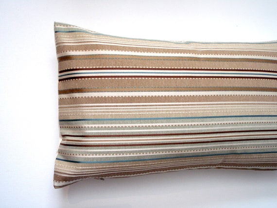 Lumbar Pillow 12x21 Brown And Teal Stripes By Couchdwellers