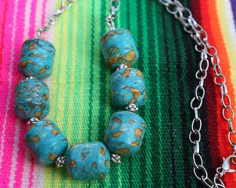 Mosaic Turquoise Necklace - Statement Necklace - Chunky Turquoise - Turquoise And Silver - Statement Jewelry - Two Feathers Jewelry