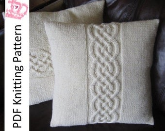 Cable knit pillow cover pattern, knit pattern pdf, Celtic knot cable 16x16  and 18x18 pillow cover - PDF KNITTING PATTERN