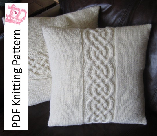 Cable Knit Pillow Pattern : Cable knit pillow cover pattern knit pattern pdf Celtic knot