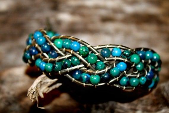 Boho Leather Wrap Braided Bead Bracelet with Chrysocolla Beads