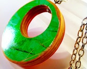 Recycled Skateboard Wood Pendant Necklace