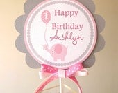 Pink and Grey Elephant Collection: Smash Cake Topper