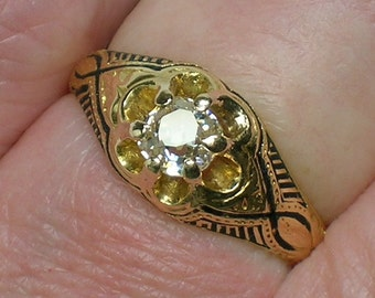Victorian Engagement Ring, Old Mine Cut Diamond, Black Enamel 1860s to 1890s. Size 3 3/4