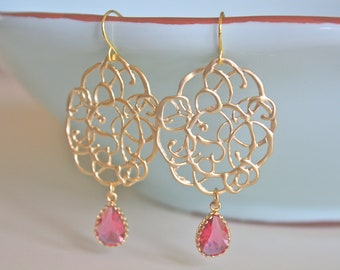Gold Earrings, Pink Earrings, Dangle Earrings, Bridesmaid Earrings, Bridesmaids gift, Gifts for Her, Best Friend Gifts, Girlfriend Gifts mom