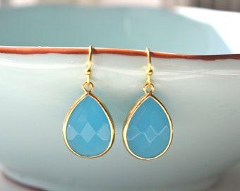 Gold Earrings, Ocean Blue Dangle Earrings Gold, Drop Earrings, Bridesmaids Jewelry, Bridal Jewelry, Everyday Earrings