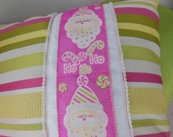 Holiday Pillow - Santa Pillow - Raspberry Pink Santa Pillow - Lemon Lime Striped Santa Design Pillow - 15 x 15 Inch - Pillow Insert Included