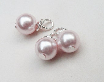 Pearl dangle bead, Pink dangle beads, Hand wrapped pearl charms, 3 beads 6mm