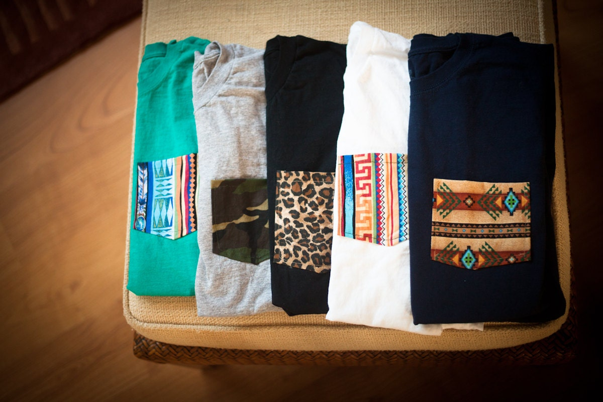 Custom order pocket tees for Custom t shirt with pocket