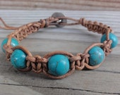 Leather Macrame Bracelet with Turquoise Blue Magnesite Beads