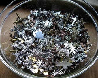 Cross Charms and Pendants Grab Bag - bag of 25 - 30 charms - C1294