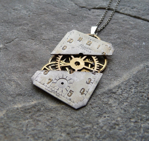 "Watch Face Pendant ""Time Splitter"" Deconstructed Watch Dial Necklace Recycled Upcycled Gear Art Steampunk by A Mechanical Mind"
