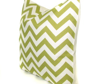 CHARTREUSE green chevron decorative pillow cover  - 16x16, 18x18, 12x16