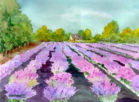 Lavender Fields Reproduction Art Print from an Original Watercolor Painting by Kathleen Gwinnett