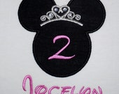 Princess Minnie Mouse birthday applique t shirt or onesie with crystal accents - Personalized in Disney font your choice of colors