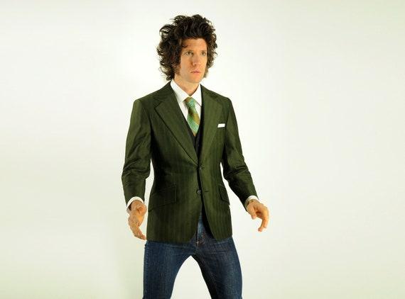 70s mens green sport coat 1970 pinstripe olive metallic blazer wide lapel floral lining slimfit 34-36 short