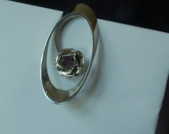 Oval Brooch with Purple Stone