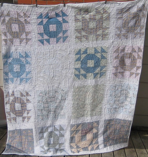 RESERVED for Treyser22 - Vintage Handmade Quilt - White with Wonderful Shirting Material - Patchwork