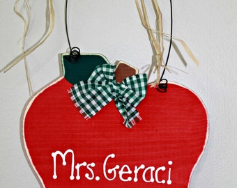 Wooden Apple Personalized Teacher Sign