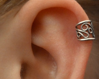 Ear Cuff - Filigree - Cartilage - Sterling Silver - SINGLE SIDE