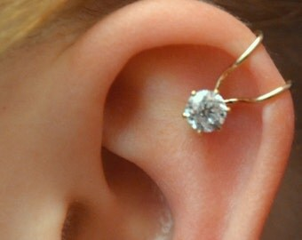 CZ Ear Cuff  with 5mm Cubic Zirconia - Sterling Silver or 14K Gold filled - SINGLE Side