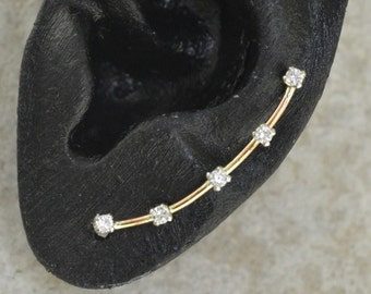 Earring Pin with five dainty 2mm Cubic Zirconias - 14K Gold Filled and Sterling Silver