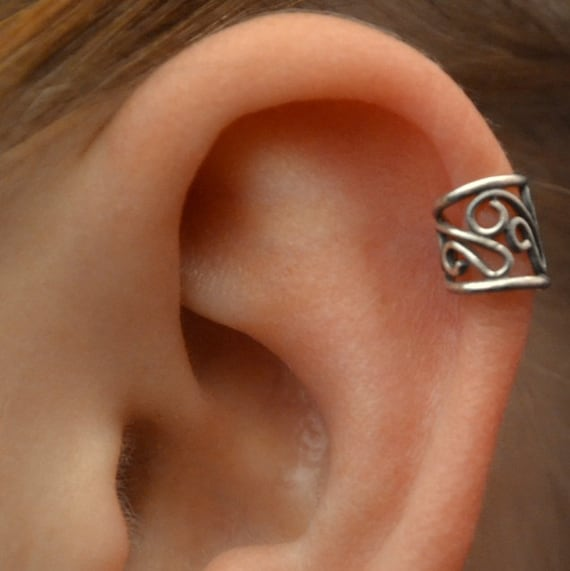 ear cuff filigree cartilage sterling silver single