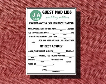 Fun Wedding Guest Book Do it Yourself Mad Lib a Fun Guest Book Alternative