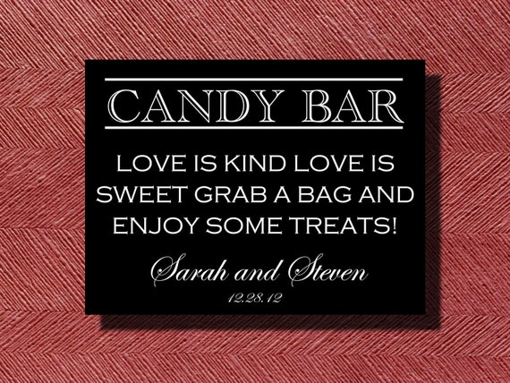 Wedding Candy Bar/Buffet Sign or Poster DIY Print Ready
