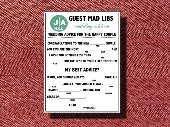 Fun Wedding Guest Book Do it Yourself Mad Lib a Fun Guest Book Alternative