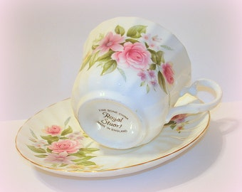 Vintage Royal Stuart Teacup Saucer Bone China Floral with Roses Made in England Pink Green White Craft Supply
