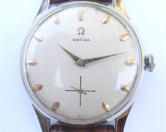 Vintage Omega Mens Dress Watch Genuine Omega Watch European Model Omega Watch Omega Chrome Plated Watch Vintage Omega Honeycomb Dial Face