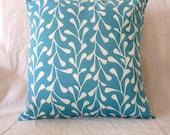pillow cover - 14 x 14 blue vine design