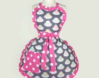 Free Shipping  Gray and Pink Cupcakes Apron