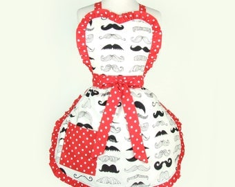 Black and White  Apron  Mustache Polka dots Moustache Apron FREE SHIPPING
