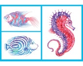 Set of 3 Sea Creature Cards