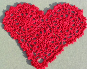 Crocheted Red Heart Doily