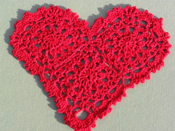 Red Heart Free Crochet Doily Patterns : Crocheted Red Heart Doily