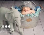 Newborn photo prop,elephant newborn/ baby hat.newborn boy, newborn girl, newborn knit hat, newborn props, baby hats, photo props, newborn