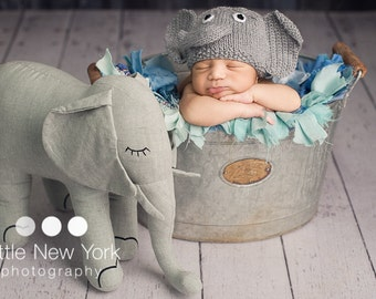 Newborn photo prop,elephant newborn/ baby hat.newborn boy, newborn girl, newborn knit hat, newborn props, baby hats, photo props, newborn