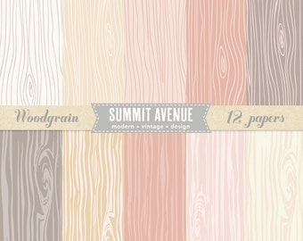 INSTANT DOWNLOAD Romantic Woodgrain digital scrapbook paper pack - for photographers or personal Use