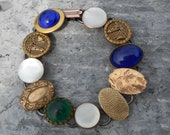 vintage cufflink button bracelet gold, mother of pearl , blue green stones