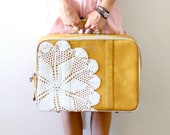Vintage mustard yellow lace luggage bag