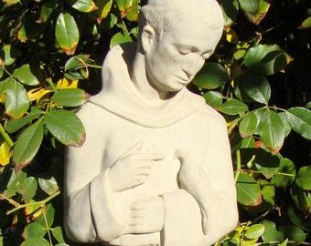 SAINT FRANCIS (DOWN) Solid Stone Vintage Religious Garden Statue Sculpture Patron Saint of Assisi w/ Bird Animals has Weathered Worn Detail