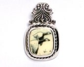Broken China Jewelry - Canadian Goose - Geese - Birds - Sterling Silver Pendant