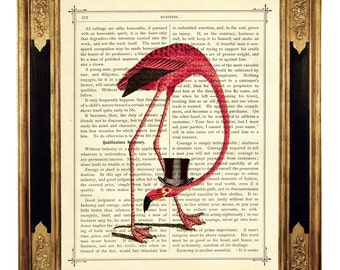 Pink Flamingo Art Print Top Hat Steampunk Gentleman - Vintage Victorian Book Page Art Print Dictionary Poster
