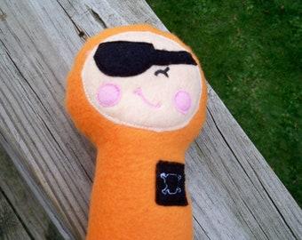 Orange Fleece Plush Pirate toy with squeaker ready to ship