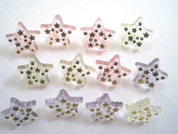 Sparkly Stars Craft Novelty Sewing Buttons