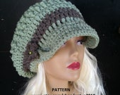 INSTANT DOWNLOAD Oversized Loose Mint Chunky Crochet Hat Pattern With Brim